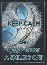Почтовая открытка KEEP CALM and never trust a smiling cat.