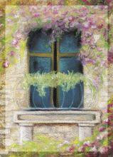 Почтовая открытка Окно в цветах