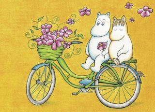 Почтовая открытка Муми-тролли на велосипеде